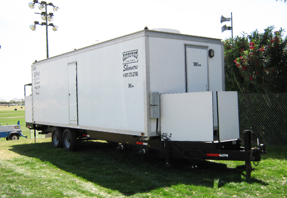 station with trailer toilets restroom eight large trailers showers rochester shower call and six